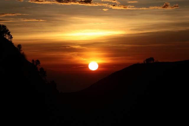 захід, сонце, пагорби