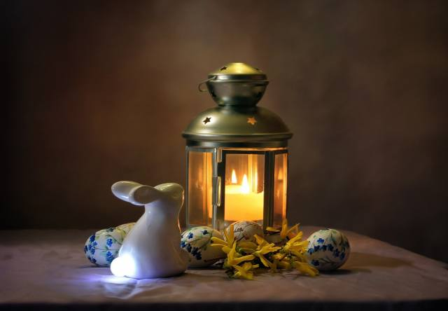 holiday, lamp, Candle, EGGS, rabbit, Easter, lantern, figure, Composition