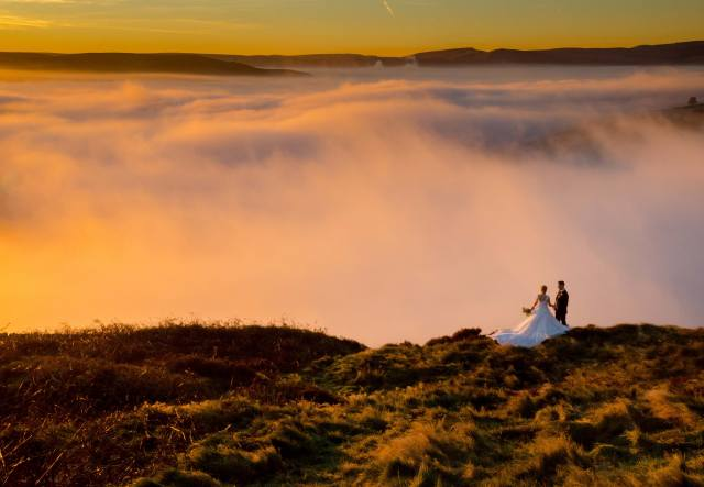mountains, the sky, fog, beautiful, PAIR, wedding