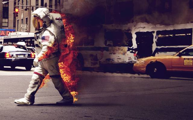 astronaut, fire, The suit, smoke, the city, machine