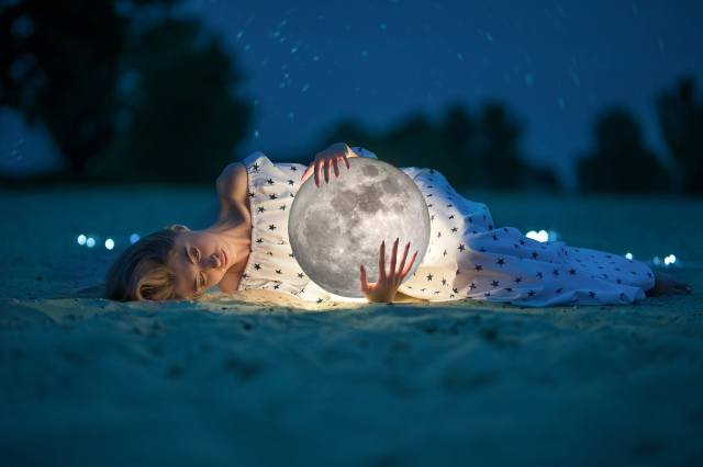 girl, the moon, night, stars, creative