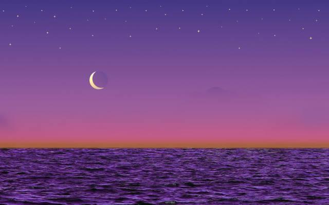 море, небо, луна