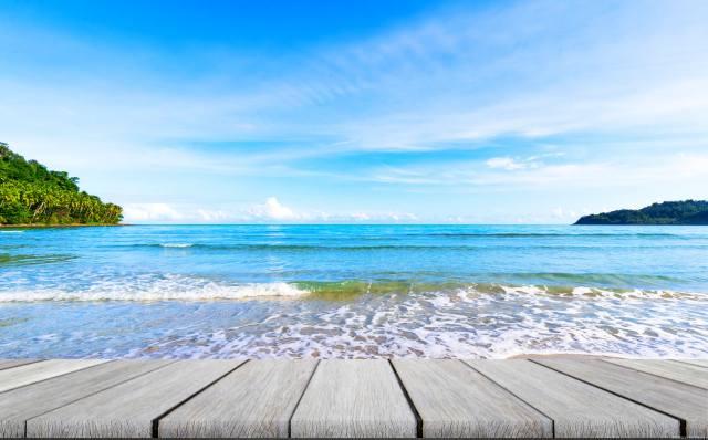 oceán, nebe, břeh