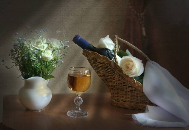 holiday, still life, table, basket, bottle, wine, Glass, vase, flowers