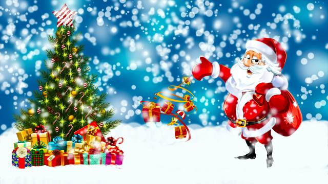 Santa Claus, winter, Christmas tree