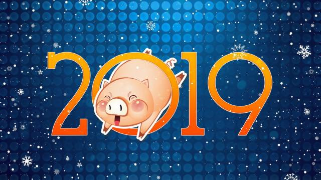 2019, pig, snowflakes, New year