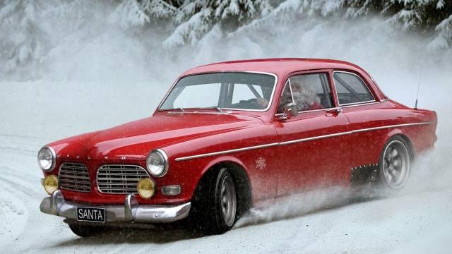 Car, drift, humor, Santa Claus, Santa Claus, snow, Volvo