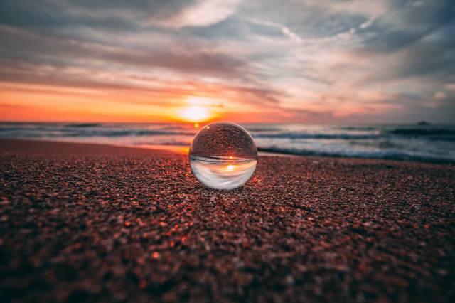 шар, стекло, отражение, море, закат, берег