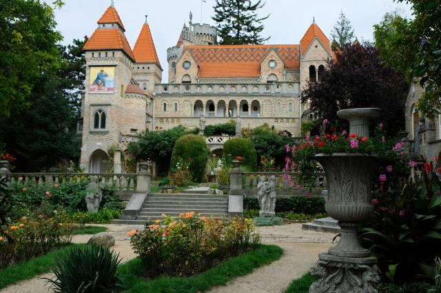 Maďarsko, hrad, park, sochy, Bory Castle, schodiště, město