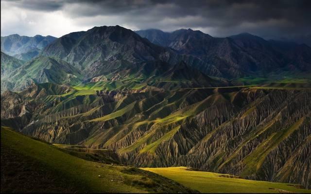 krajina, hory, tmavě, Čína, kopec, jezero, příroda, tráva