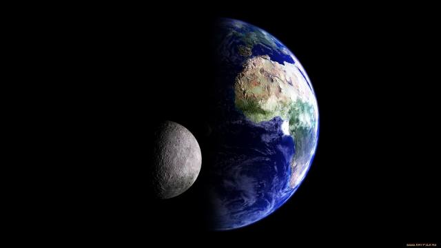 space, earth, the moon