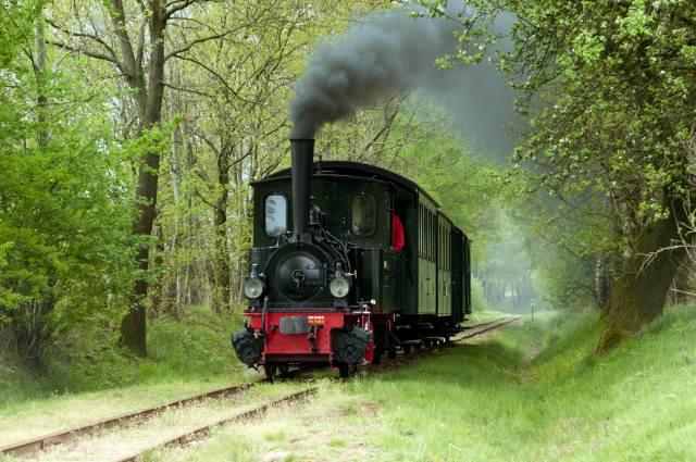 Железные дороги, rails, grass, trees, locomotive, retro, smoke