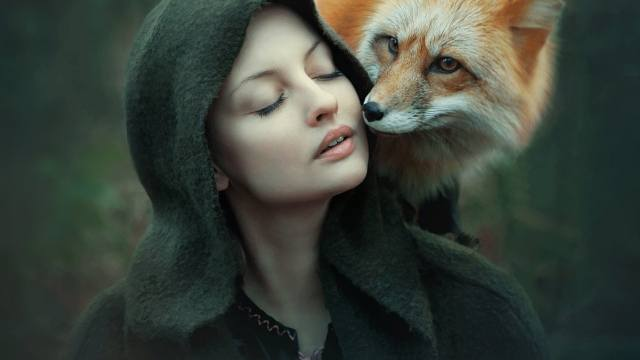 Fox, face, girl, hood