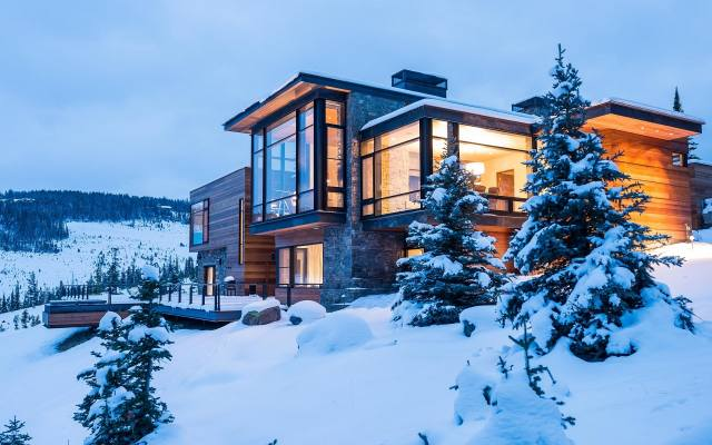 house and comfort, winter, snow, mountains
