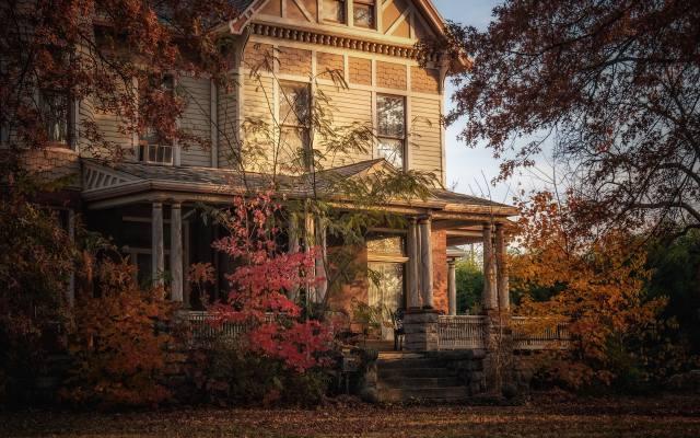 stromy, podzim, zahrada, dům, starý dům, фасад