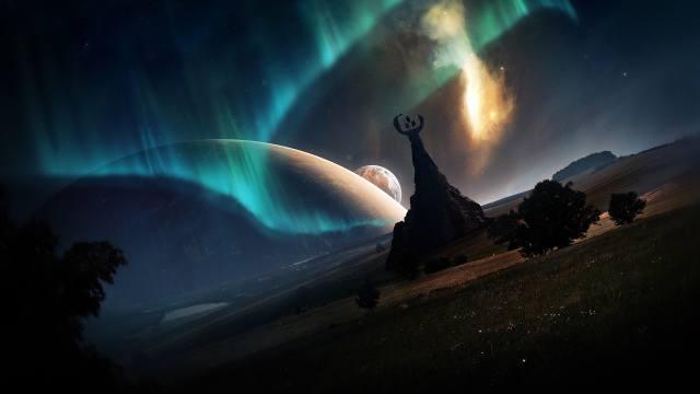 night, moonlight, the atmosphere, Aurora, darkness