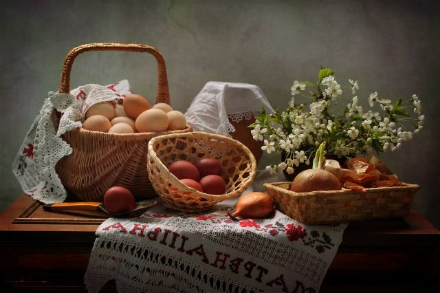 branches, cherry, table, holiday, basket, EGGS, milk, bow, Easter