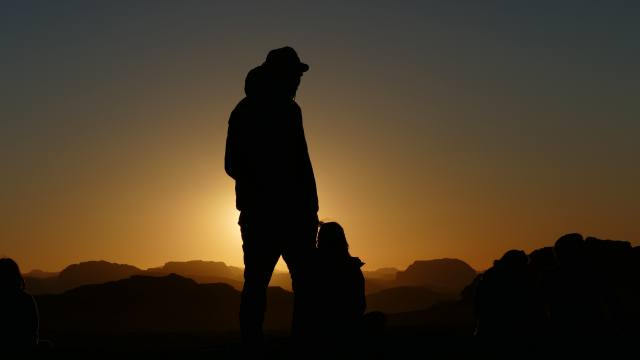 sunset, two, silhouette