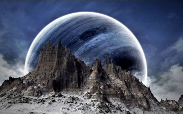фото цифровое искусство, planet, the moon, the atmosphere, mountain, 1