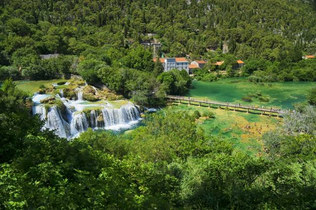 Croatia, waterfalls, forest, the lake, the bridge, Krka, National Park, nature