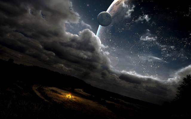 Космос.планета.сфера, field, clouds, the fire