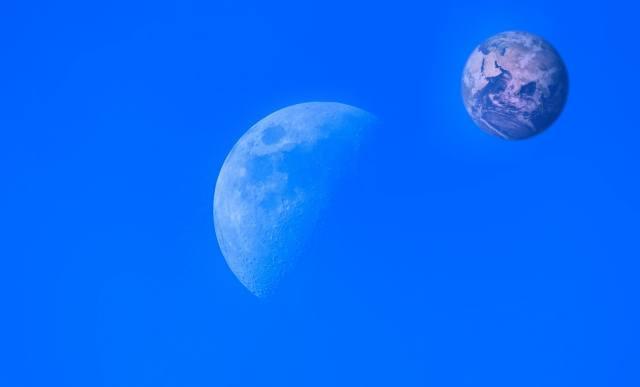 modré, měsíc, země