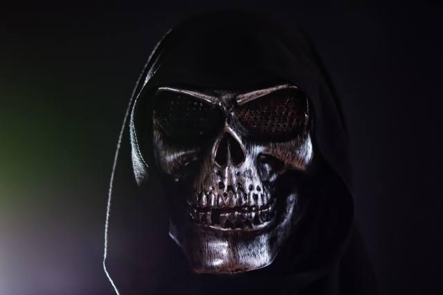 mask, skull, hood, dark