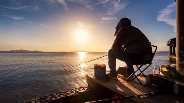 people, fishing, the lake, sunrise, morning