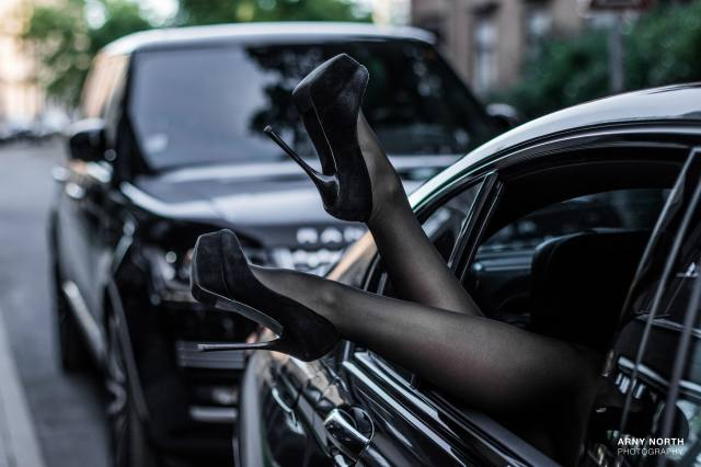 arny north, black, black stockings, BMW, Car, high heels, feet, model, Range Rover