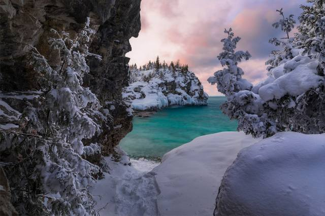 канада, природа, пейзаж, зима, снег, деревья, озеро, сугробы, Онтарио