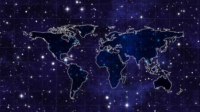 Карта мира, Звездная, космическая