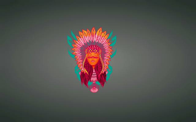 girl, the Indian, face, feathers, background