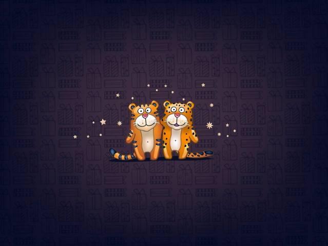 tygři, hvězdy, pozadí, obrázek