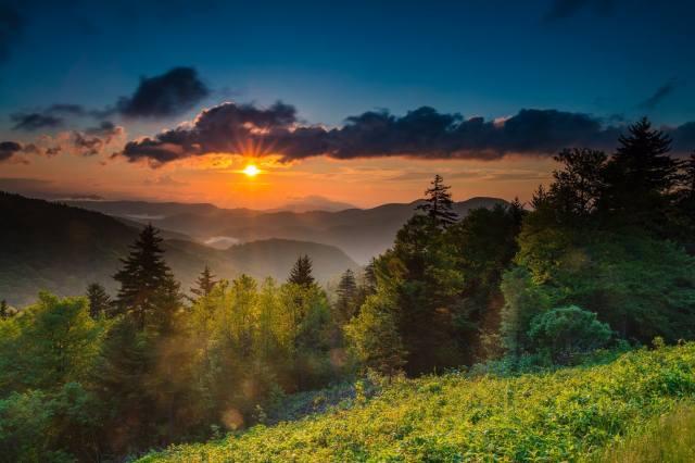 США, Северная Каролина, горы, природа, пейзаж, рассвет, утро, солнце, лучи