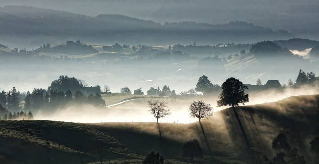 Switzerland, nature, landscape, hills, the village, morning, dawn, fog