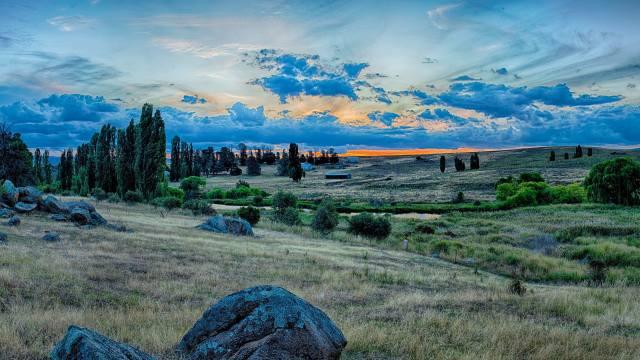 Australia, trees, grass, stones, clouds, twilight