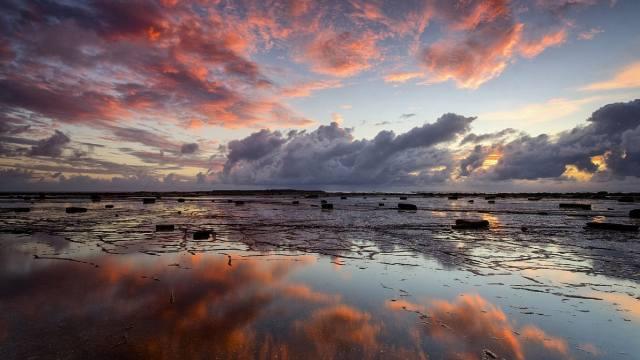the sky, clouds, coast, dawn, reflection, Glenn-Crouch