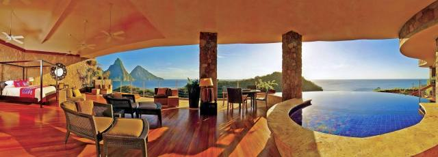 The hotel, Jade Mountain Resort, room, tropics, mountains, the ocean