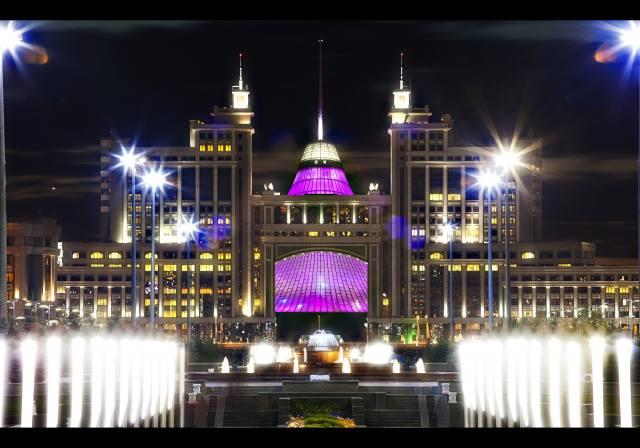 evening, lights, Astana, Kazakhstan, the city