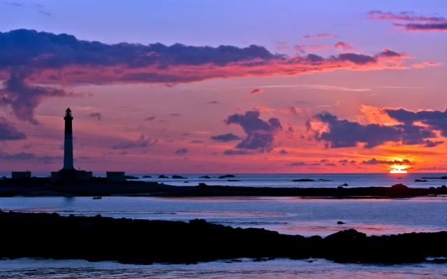 lighthouse, sea, the sky, sunset