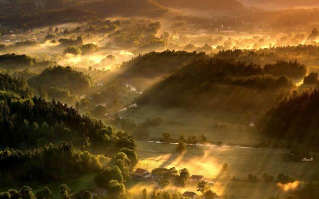 landscape, fog, mountains, nature, the sun's rays, the sun's rays, dawn, дерев