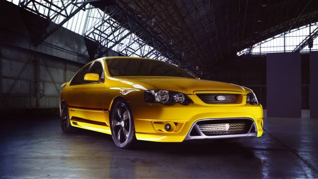 Ford, falcon, fpv, f6, yellow, side