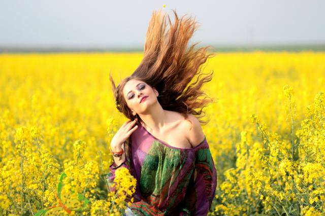 beautiful, girl, field, flowers