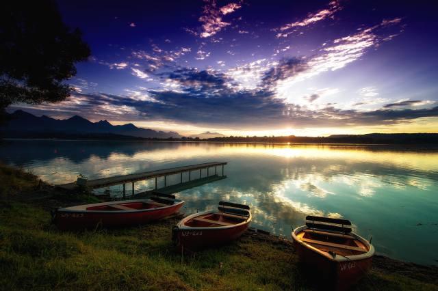 Форггензе водохранилище, бавария, Германия, закат