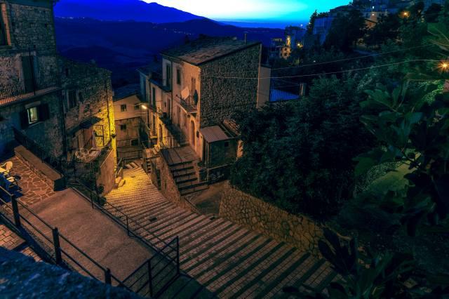 Италия, дома, Bomba, лестница, ночь, город