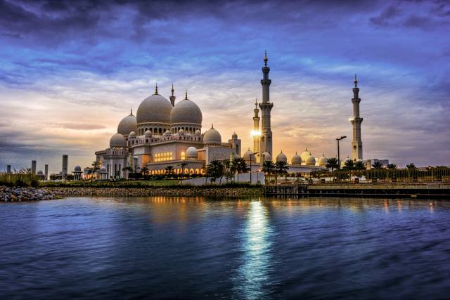 water, the city, evening, tower, the mosque, architecture, UAE, dome, the Sheikh Zayed Grand mosque