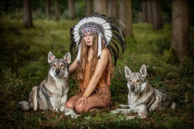 girl, wolves, forest