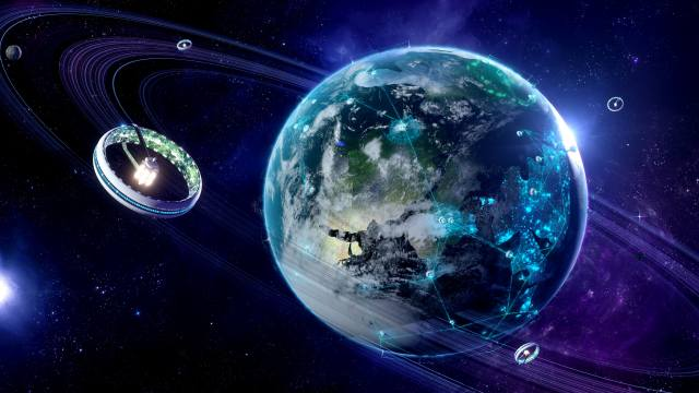 space, stars, planet, earth, satellite