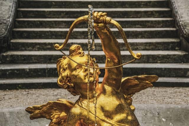 ангел, скульптура, лестница, золото, лук