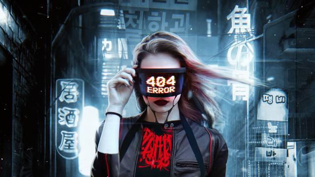 cyberpunk, girl, 404 Error